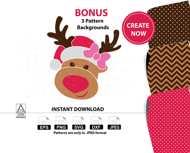 Girl Reindeer clipart,christmas deer instant download svg, santa hat,chevron polka dots ,Antlers Decal Christmas dfx png,Red Nosed Reindeer