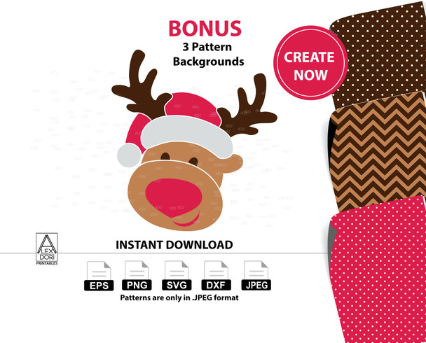 Boy Reindeer clipart,christmas deer instant download svg, santa hat,chevron polka dots ,Antlers Decal Christmas dfx png,Red Nosed Reindeerr
