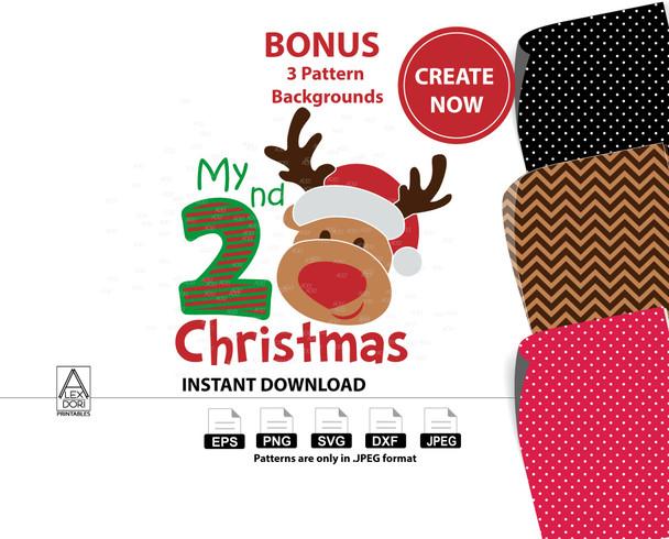 Cute 2nd Christmas Reindeer Boy Clipart  Instant Download Chevron Print Polka Dot Print. digital clip art, reindeer design for t-shirt
