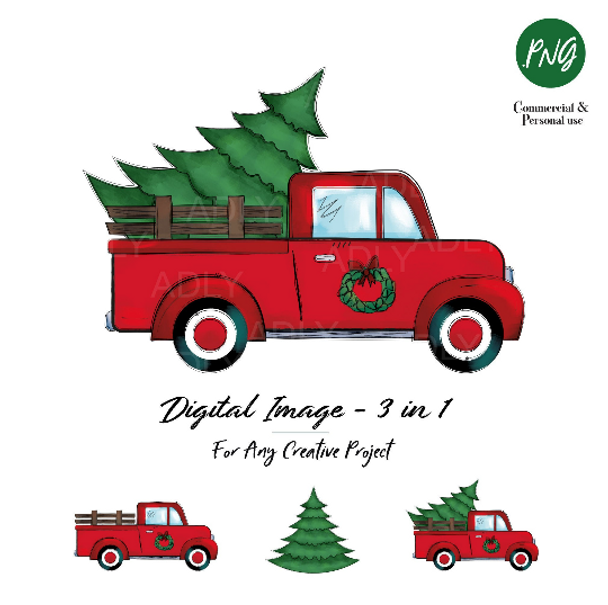 Christmas sublimation, red truck with Christmas Tree, wreath, vintage truck, watercolor doodle art, vintage Christmas, shirts decor transfer