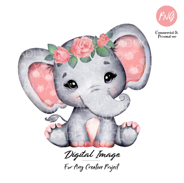 Watercolor Elephant Coral clipart, floral elephant with roses, rustic,commercial Use,hand-drawn, digital file, image, baby shower, salmon