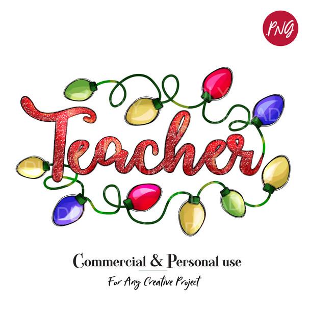 TEACHER Sublimation Christmas Lights, fun doodle clip art, digital transfer, Christmas Printable Artwork, bright, happy holidays,