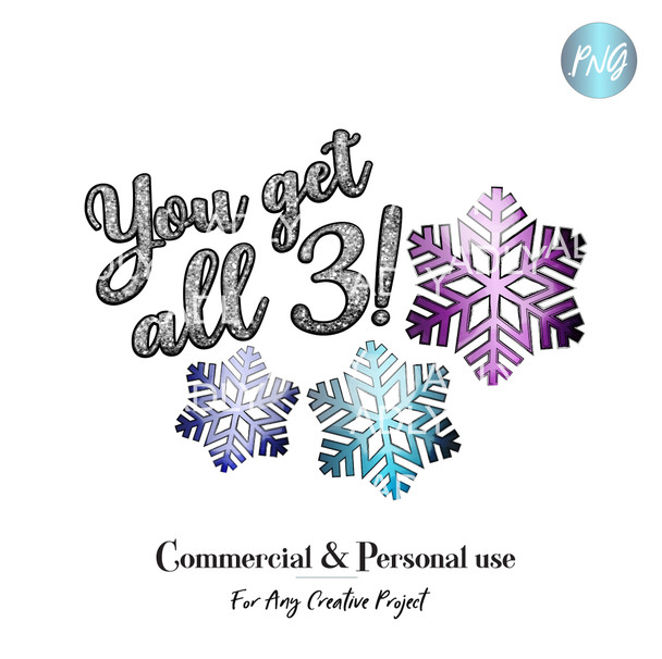 Winter Dollar Deal Snowflake Bundle sublimation, promotion clip art, you get all 3 winter PNG Printable Artwork, digital black friday cyber week
