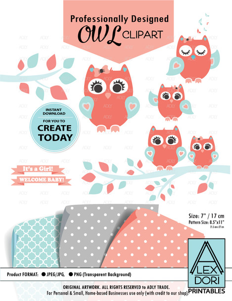 Coral Aqua Girl Owl Clipart, Baby Peach,light turquoise, owl clip art, png file. Nursery, Baby Shower decoration,birthday commercial license