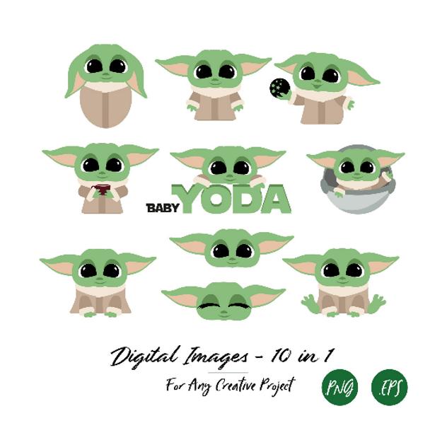 Set of Baby Yoda ClipArts, PNG, Child Yoda, T-shirt, Sublimation, Wallart, DIY