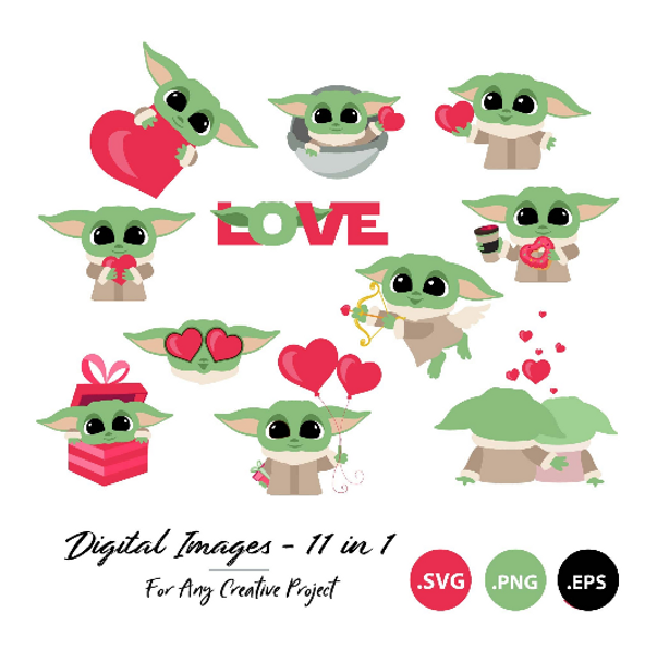 Yoda Valentine Set ClipArt, SVG, PNG, Star Wars, Love, Yoda With Heart, Star Wars Gift, Star Wars Coffee Cup, Sublimation, DIY
