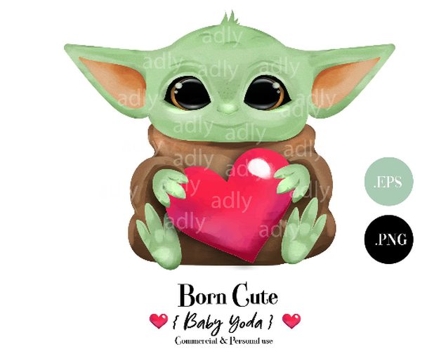 Yoda for Valnetine Clipart, Love Yoda, Yoda with Heart, Clipart. PNG, EPS., Gift for Valnetine, Star wars Gift, Sublimation,  Embriodery, DIY