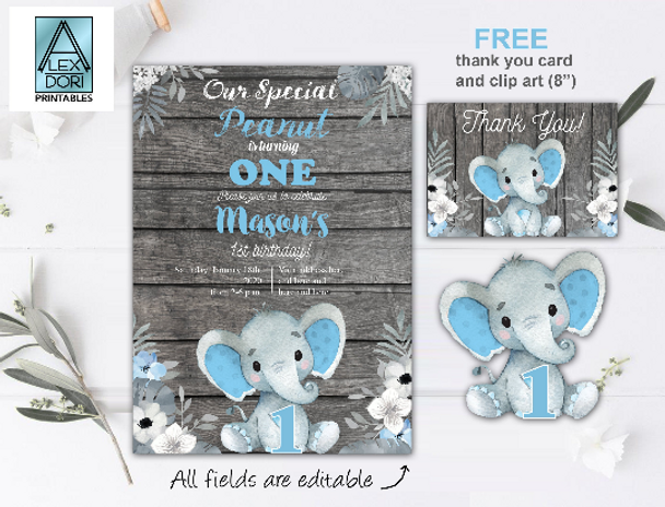 Elephant Boy First Birthday BUNDLE Invitation Template, Rustic, Thank You Card and Centrepiece, Floral and Wooden Design