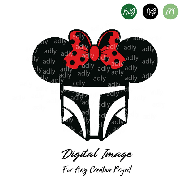 Star Wars Helmet with Minnie Mouse Bow SVG, Star Wars Girl Fans,  disney girl fighter, SVG warrior, this is the way,  jedi helmet red bow