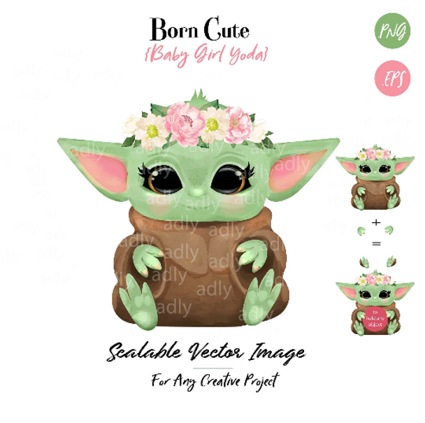 Baby Yoda Girl Yoda with Crown of Flower, Floral, Star Wars PNG, Clipart, Sublimation, Mandalorian baby girl Clipart, baby jedi girl, Baby girl Shower