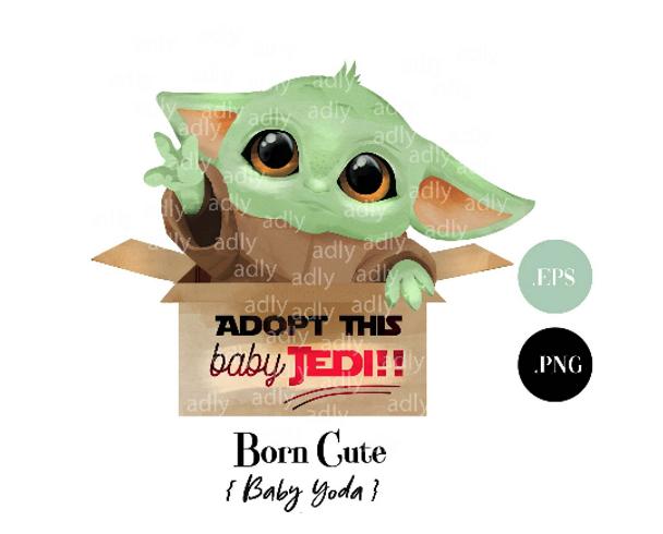 Mandalorian Baby Jedi Yoda for Adopt Clip Art, Yoda Sublimation, watercolor adopt Jedi for mug, gift, table decor.
