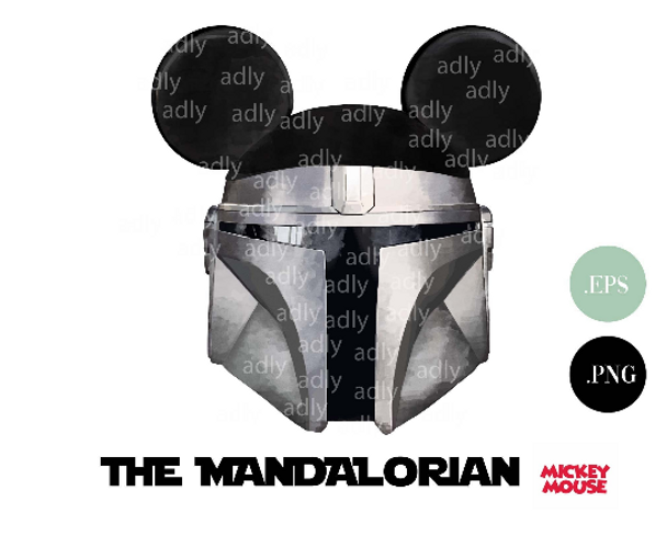 Star wars Disney Mandalorian Mickey clip art, star wars helmet with mickey ears png for sublimation, image for t-shirt, mug, gift.