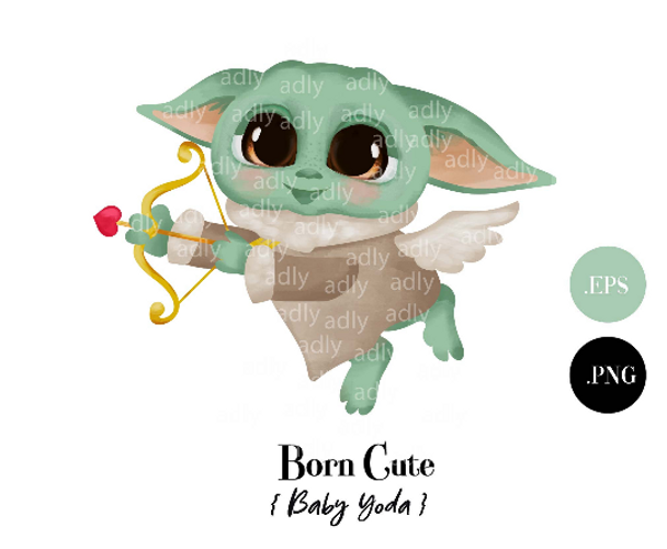 Love Arrow Baby Yoda Cupid Clip Art, Yoda Sublimation, Valentine watercolor Yoda for invitation, t-shirt, mug gift. Alien Love, Star Wars. MandalorianBaby Yoda Cupid Clip Art, Yoda Sublimation, Valentine Yoda t-shirt, mug gift, Star Wars. Mandalorian