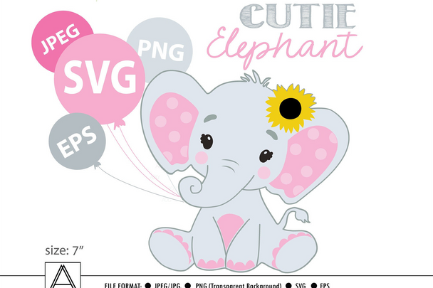 Pink  Baby Elephant, Sunflower, pink gray  Clipart, SVG (print and cut only),vector, illustration