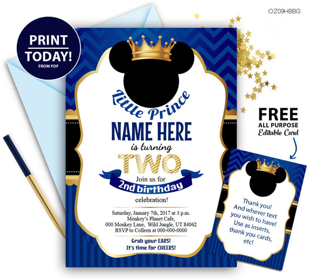 Mickey Mouse, 2nd birthday party, Blou, Gold, prince