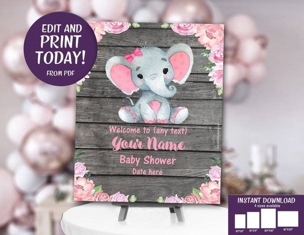 Rustic Pink Elephant, Baby Shower invitation, Roses Pink
