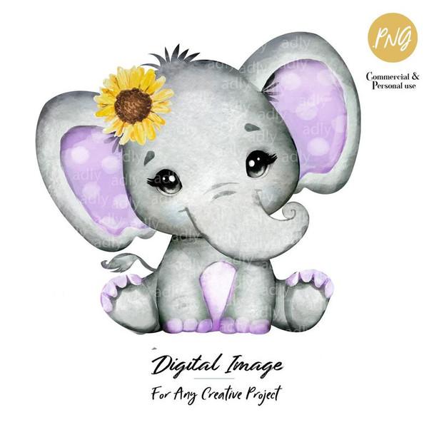 Purple Girl Elephant, sunflower, clip art, baby shower