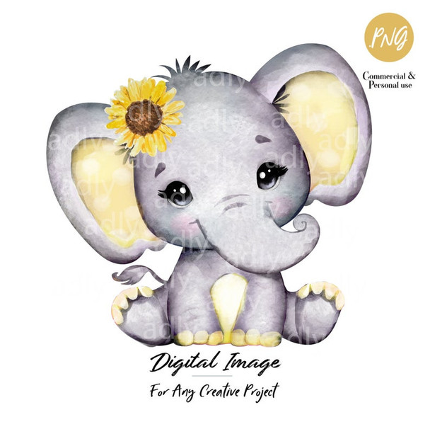 Yellow Girl Elephant, sunflower, clip art, baby shower