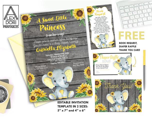 Sunflowers yellow elephant baby shower, invitation