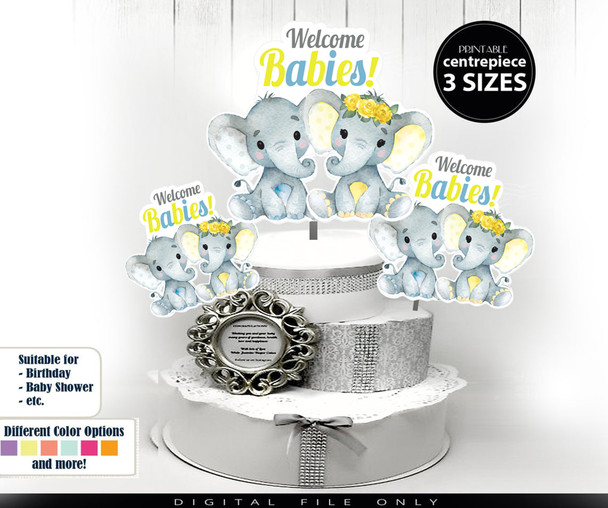 Yellow And Blue Twins Elephant table decor, diaper cake topper.