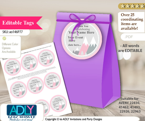 "Mountain Girl Pink Adventure awaits DIY  Text Editable 2,5"" circle tags for birthday, baby shower."