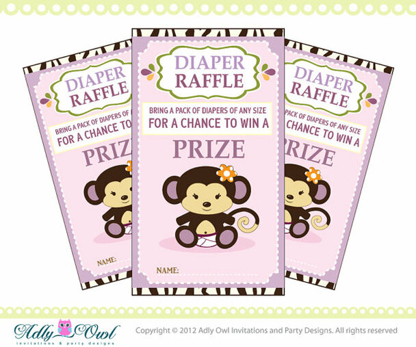 Cocalo Jacana Diaper Raffle Tickets Printables For Baby Girl Shower