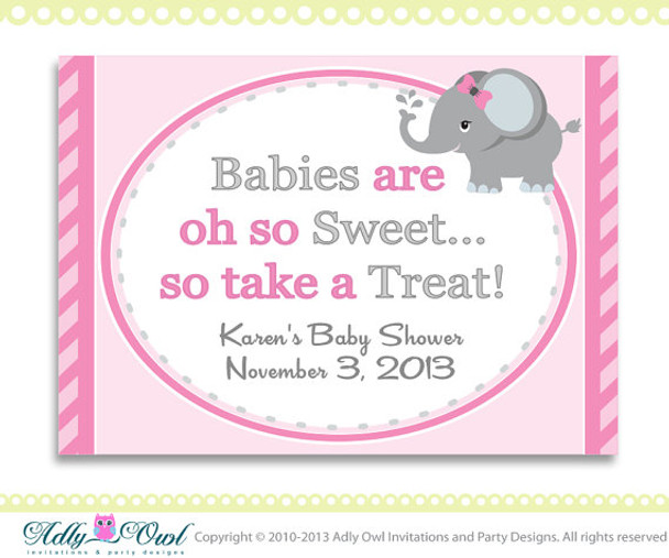 Personalized Girl Elephant Sweet Table Sign Favor Tag For Pink