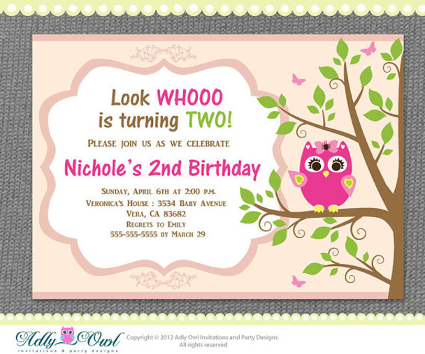 Personalized Girl Owl Birthday Party 2nd Printable Invitation With Pink