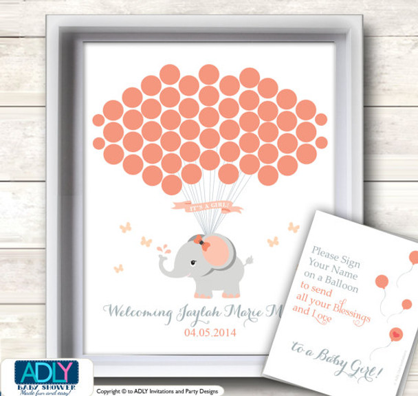 photo regarding Baby Shower Guest Book Printable named Salmon Grey Elephant Visitor Reserve Printable Answer and Coral Elephantl Wall Artwork for Woman Little one Shower Do it yourself, peach,gray