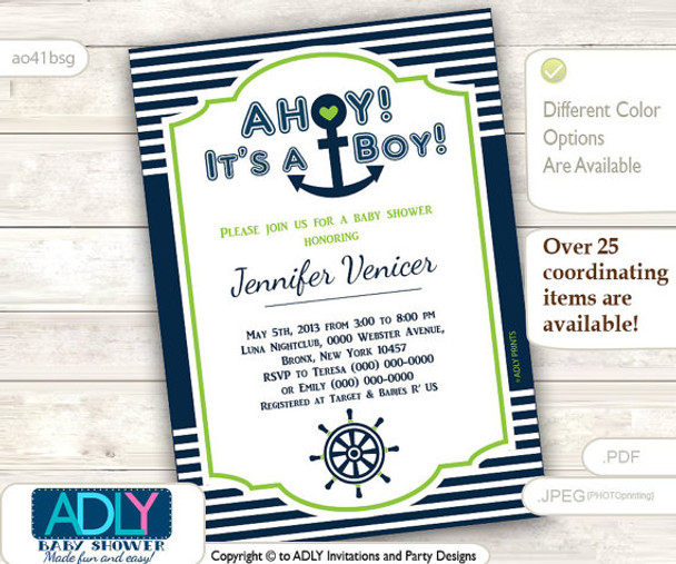 Lime Green Navy Nautical Invitation for Baby Shower, Green, anchor, ship wheel, stripes dark blue, white. Ahoy, it's a boy