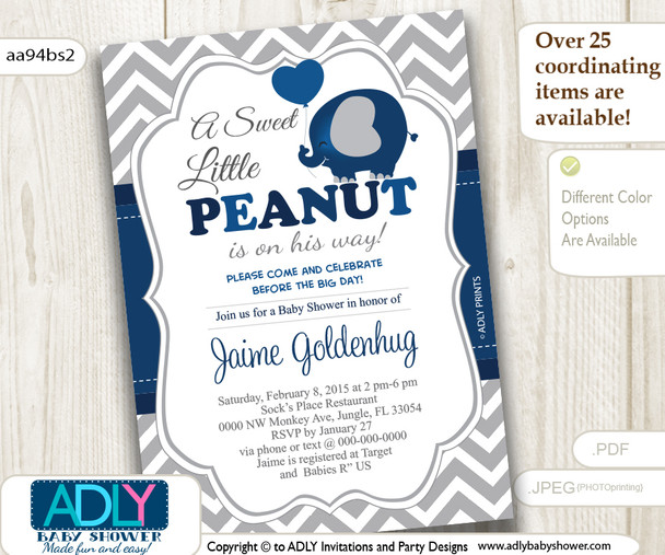 Dark Blue, Grey Little Peanut Boy Invitation, grey chevron, navy elephant invitation
