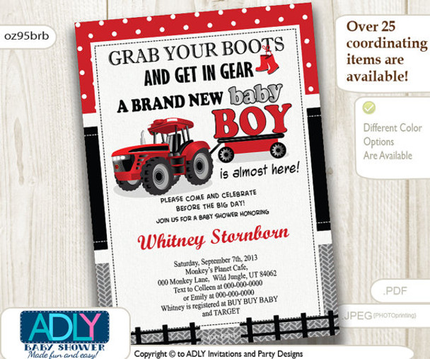 Red Black Tractor Baby Shower,Country, farm baby shower. Grab your boots and get in gear,grey, John, Deere