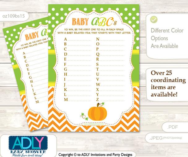 Neutral Pumpkin Baby ABC's Game, guess Animals Printable Card for Baby Pumpkin Shower DIY –Chevron