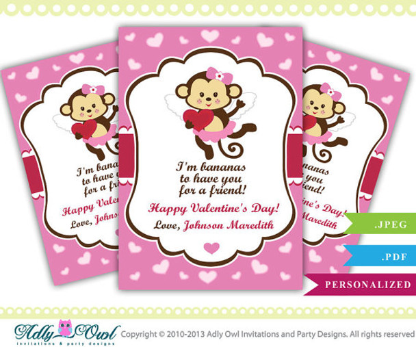 image about Happy Valentines Day Printable named Custom-made Monkey Valentines Working day Printable Do it yourself Card, Joyful Valentine and move bananas, small child monkey - Merely electronic document - ao37