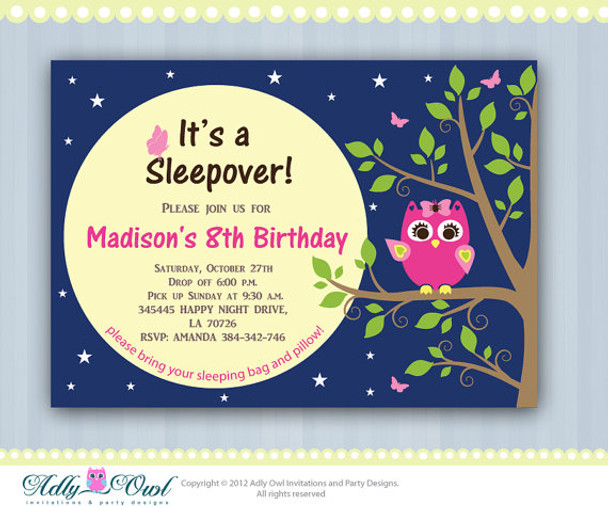Personalized Girl Night Owl Sleepover Birthday Party Printable Invitation With Pink