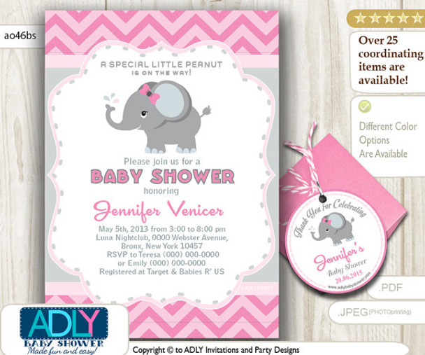 graphic about Free Elephant Printable named Purple Gray Elephant Invitation for Little one Shower, Free of charge Elephant Thank Oneself Like TAG, Printable invitation lady, chevron, purple, gray