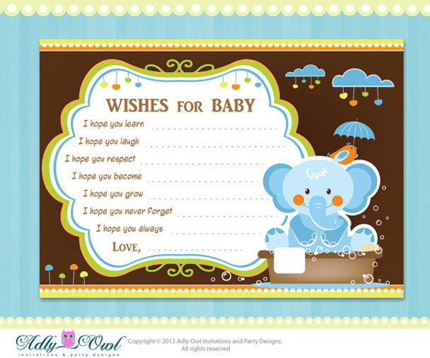 Boy Elephant Baby Shower Wish And Advice Card Printable Diy Only