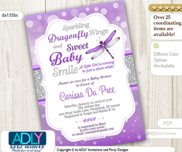 Dragonfly Baby Shower Invitation With Bokeh Purple Silver Glitter