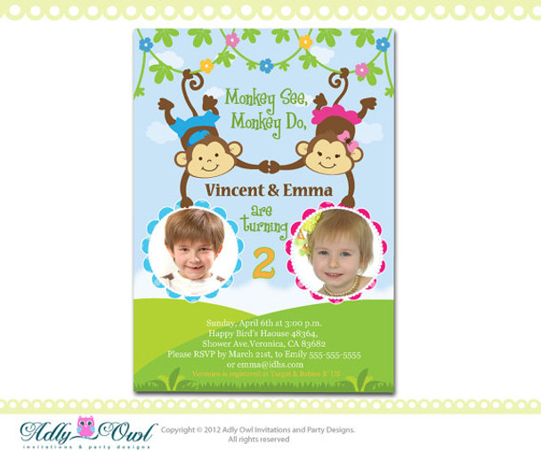 Personalized Twin Invite Second Birthday Invitation Card For Boy And Girl With Monkeys