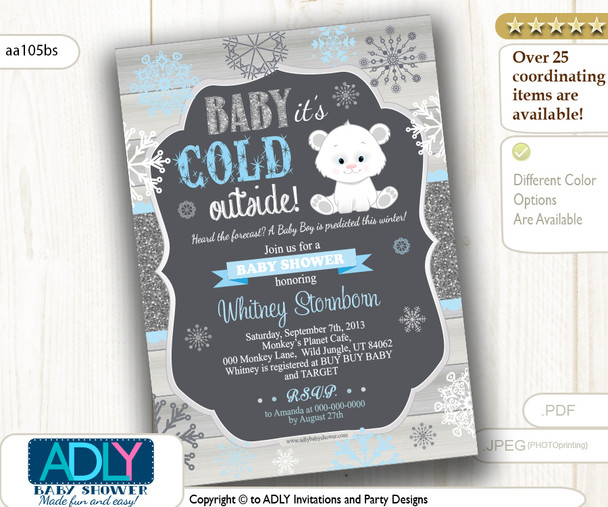 Polar Bear Baby Shower Digital Invitation. Printable Card.