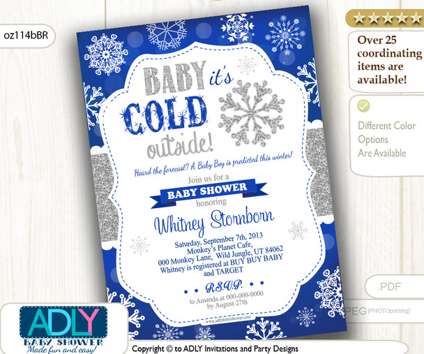 Royal Blue Silver Snowflake Boy Invitation for Winter Baby Shower
