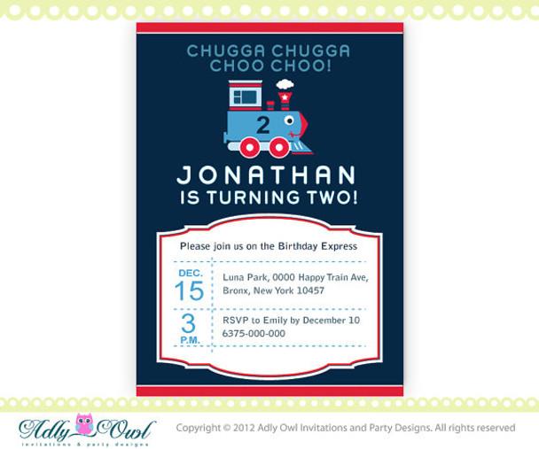 Birthday Train Printable Invitation for a boy,  DIY Train invite, choo, second birthday, first birthday- ONLY digital file - you print