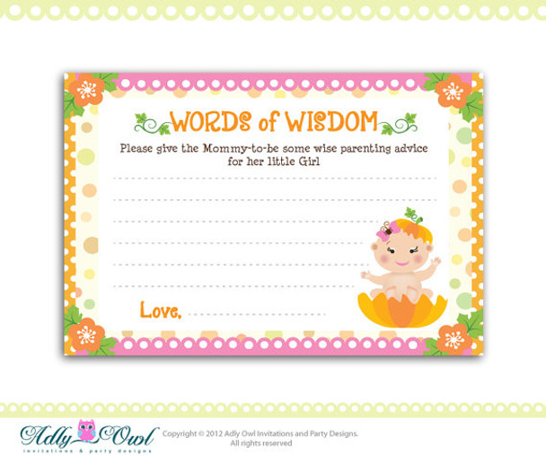 picture about Mommy Advice Cards Printable identified as Woman Pumpkin Term of Knowledge Boy or girl Shower Information Card Printable Do-it-yourself - Simply just electronic record - your self print