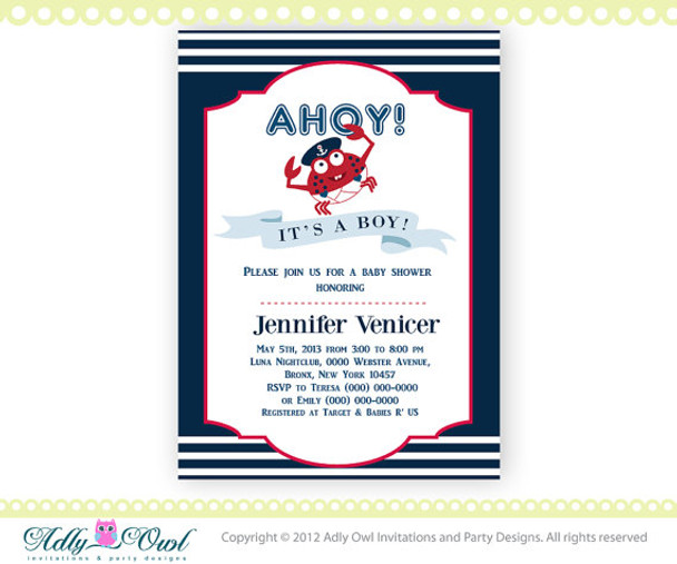 Nautical Baby Shower Invitaion with cute little Carb