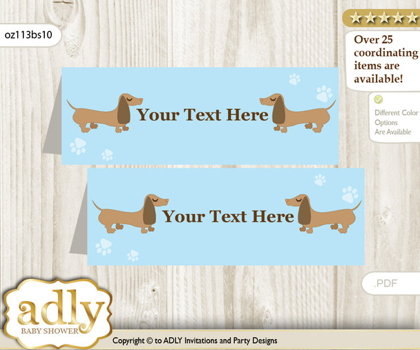 Printable Boy Dog Buffet Tags or Food Tent Labels  for a Baby Shower or Birthday , Sausage, Blue
