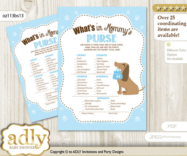 Printable Boy Dog Price is Right Game Card for Baby Dog Shower, Sausage, Blue  Boy Dog What is in Mommy's Purse, Baby Shower Purse Game Printable Card , Sausage,  Blue
