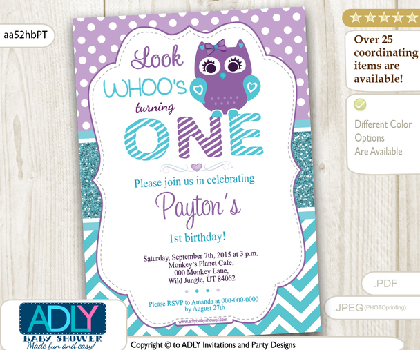 Teal and Purple Girl Owl Birthday Invitation, chevron and polka