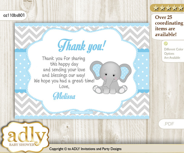 Elephant Printable Card with Name Personalization for Baby Shower or Birthday Party