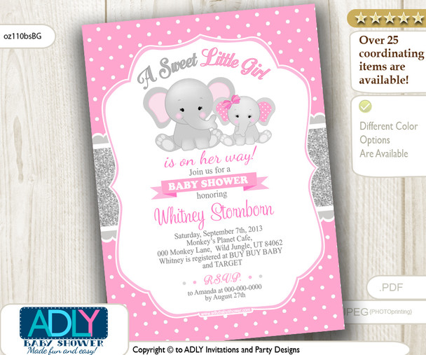 Pink Polka and Grey Elephant and Mommy Invitation for a Baby Shower