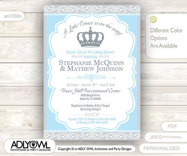 Gray Blue Little Prince Royal Baby Shower Invitation Prince Diy